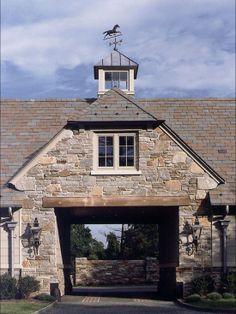 Magnificent Porte-Cochere - New English Manor House - Gladwyne, PA Porte Cochere, Horse Barns, Old Barns, Gate House, House Roof, English Manor, Traditional Exterior, Dream Barn, Breezeway