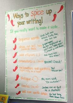 Luckeyfrog's Lilypad: Spicing Up Your Writing! (LOVE this idea to help students help students stuck in a writing rut!)