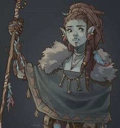 Half-Orc Druid with Bark Skin Spell Dungeons And Dragons Characters, Dnd Characters, Fantasy Characters, Female Characters, Fantasy Character Design, Character Creation, Character Design Inspiration, Character Art, Female Character Concept