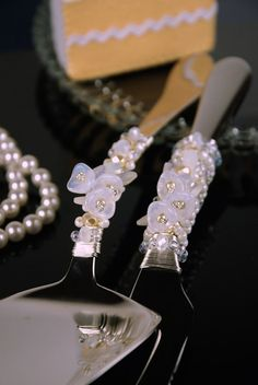 opal and pearl glass flower wedding cake server and knife set, handmade with beaded crystal $64.99 or 42.77GBP