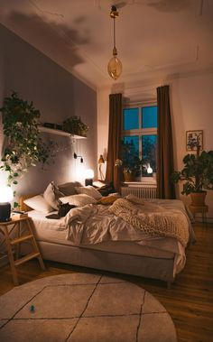 Home Interior Living Room .Home Interior Living Room Room Ideas Bedroom, Home Bedroom, Bedroom Inspo, Cozy Bedroom Decor, Bedroom Inspiration Cozy, Cozy Apartment Decor, Bedroom Plants Decor, Bohemian Bedroom Design, Small Apartment Bedrooms