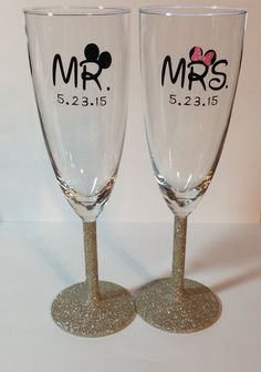 Mr & Mrs Mickey and Minnie Disney Champagne by RiversideManor