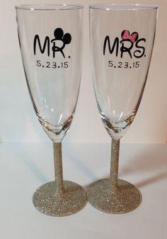 Mr & Mrs Mickey and Minnie Disney Champagne by RiversideManor