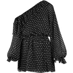 Polka-dot print one-shoulder georgette dress Saint Laurent... (€2.590) ❤ liked on Polyvore featuring yves saint laurent