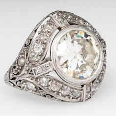 Art Deco 3 Carat Diamond Engagement Ring w/ Transitional Cut Diamond Platinum 1920's