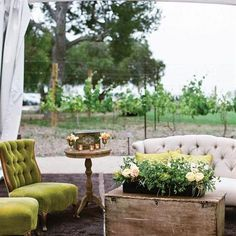 """I like this loom for the """"lounge"""" area, perhaps not these shades, but this """"look"""" Vintage Lounge  To create a vintage vibe in the reception tent, plush armchairs, sofas, side tables and eclectic items made up mini lounges.  Photo: Aaron Young Photography"""