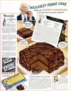 Wellesley Fudge Cake: Retro Ad & 2 Recipes