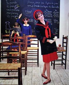Schoolgirl fashions modeled by Colleen Corby in Seventeen, 1964.