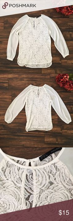 Zara White Rose Lace Top Zara white hollow rose lace with chiffon sleeves. Zara Tops Blouses