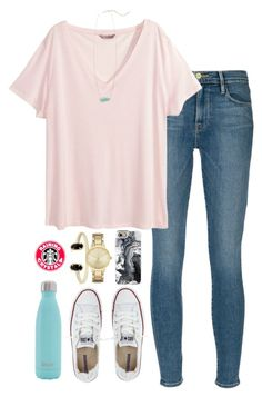"""""""it's casual"""" by raining-crystals on Polyvore featuring Kendra Scott, Frame Denim, H&M, Converse, Casetify, S'well and Kate Spade"""