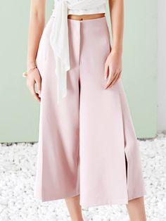 #AdoreWe #StyleWe MASKED QUEEN Pink Plain Slit Elegant Polyester Wide Leg Pants - AdoreWe.com
