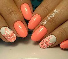 Manicure Nail Designs, Acrylic Nail Designs, Nail Manicure, Nail Art Designs, Acrylic Nails, Neon Coral Nails, Peach Nails, Orange Nails, Nail Polish Art