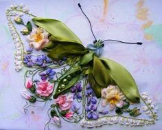 This stunning ribbon embroidered butterfly is by Nina Lazarev.   Nina's website http://ninatela.gallery.ru/?p=albums&parent=mVq0