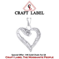 """3/4 Ct White Genuine Diamond 14K Gold Heart Promise Pendant Without Chain """"Mother\'s Day Gift"""". Starting at $225"""