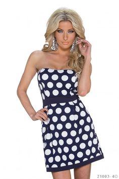 Blauw strapless jurkje met witte stippen
