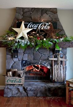 Coca Cola inspired Christmas fireplace mantel decorating with stars - via Funky Junk Interiors, Coke Christmas 2013 Coca Cola Christmas, Noel Christmas, Xmas, Christmas Ideas, Christmas Kitchen, Outdoor Christmas, Country Christmas, Christmas Inspiration, Christmas Stuff