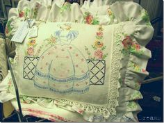 sweet pillow with vintage linen