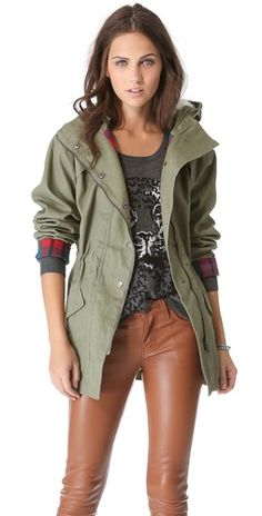 military jacket (love the softer shade of green and that it has a hood!)