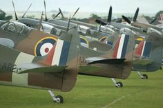 Spitfire line up at Duxford.
