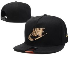 Mens Nike The Classic Nike Iron Gold Metal Logo A-Frame USA 2016 Best Quality Fashion Leisure Snapback Cap - Black