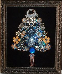 $ 95 Vintage Jewelry BLUE CHRISTMAS Framed Jeweled Christmas Tree - Rhinestones - Sparkling Jewels on Black Velvet