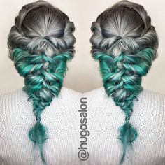 "WOW! ... ""Steel Teal Braids"" by @_sammie_ at @hugosalon #tealhair #behindthechair #instabraids by behindthechair_com"