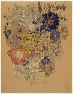 Mixed flowers, Mont Louis, 1925, Margaret Macdonald Mackintosh & Charles Rennie Mackintosh