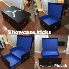 Black n Blue Jordan storage box holds 16 pairs of sneakers Sneaker Storage, Shoe Storage, Storage Boxes, Jordan Shoe Box Storage, Storage Ideas, Blue Jordans, Air Jordans, Milan Fashion Weeks, New York Fashion