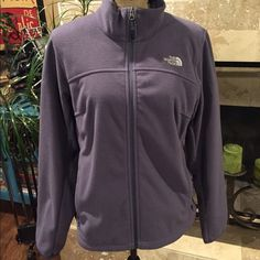North face fleece Never wore, so new condition. Size medium and runs a little big. More a periwinkle in color... Bluish lavender hue North Face Jackets & Coats