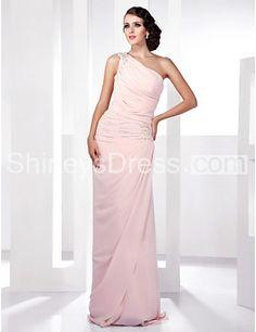 Pure Pink Chiffon One Shoulder Dress