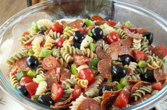 Classic Italian Pasta Salad with pepperoni for a Memorial day, 4th of July, or summer side dish.