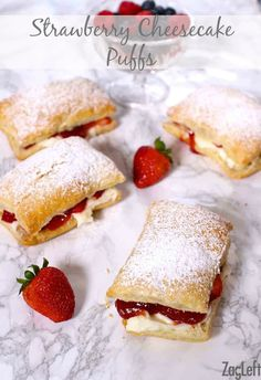 Light and flaky puff pastry, fresh strawberries, a creamy no-bake cheesecake filling, and a sweet strawberry sauce come together to make these quick and easy Strawberry Cheesecake Puffs.