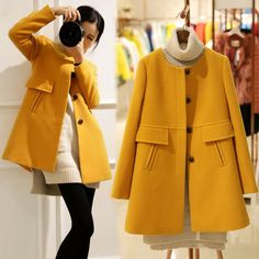 Nice New Autumn Winter Women Woolen Overcoat Ladies Casacos Femininos Slim medium-long o-neck Wool yellow/purple Coats S2521