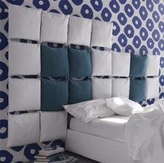 12 DIY HEADBOARDS - pillows headboard
