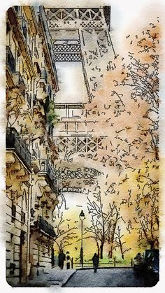 Printable Art, Instant Download, DIY Print At Home, Art Print, Watercolor, Paris, France, Orange, Ocher by edeblas on Etsy