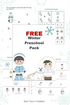 Sizing, counting, prewriting, coloring and other fun activities for toddlers and preschoolers to enjoy in winter! Free printable! The Ultimate Pinterest Party, Week 81