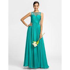Lanting+Bride®+Floor-length+Chiffon+/+Tulle+Bridesmaid+Dress+-+Sheath+/+Column+Bateau+with+Beading+/+Criss+Cross+–+EUR+€+74.47