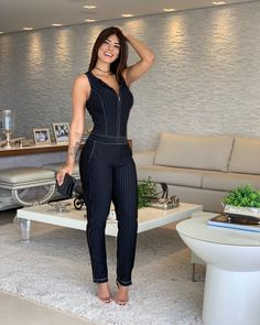 Image may contain: 1 person, standing Jumpsuit Outfit, Denim Jumpsuit, Olive Jumpsuit, Chic Outfits, Fashion Outfits, Latest African Fashion Dresses, Clothing Hacks, Sexy Dresses, Clothes