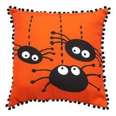 "Three Spiders Pillow, 18"" x 18"" $12.99 #Gordmans #Halloween #HalloweenDecor #Pillows"
