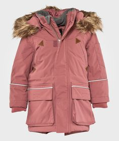 Warm lined winter jacket with wind- and waterproof fabric. Parka style with detachable hood with faux fur. Parka Style, Lilacs, Waterproof Fabric, Baby Shop, Canada Goose Jackets, Faux Fur, Kids Outfits, Winter Jackets, Om
