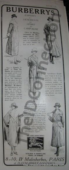 Vintage French Paris Burberrys advertisement by TheIDconnection, $22.00
