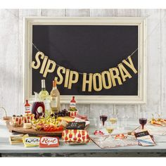 This Sip Sip Hooray theme makes throwing a wine tasting party easy! Which are you--Team Red or Team White? Wine And Cheese Party, Wine Tasting Party, Wine Party Decorations, Wein Parties, Party Banner, Birthday Party Celebration, Wine Night, Party Napkins, Dinner Napkins