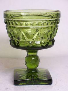 Vintage Indiana Pressed Green Glass Colony Park Square Footed Pedestal Goblet  $6.99