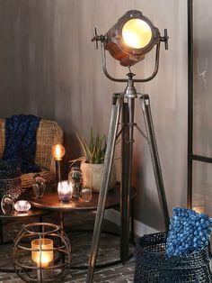 Black floor lamp rnrnSource by silkehuyghe Flooring, Black Floor Lamp, Lamp, Rustic House, Industrial Lamp, Floor Lamp, Round Carpets, Industrial Interiors, Home Decor