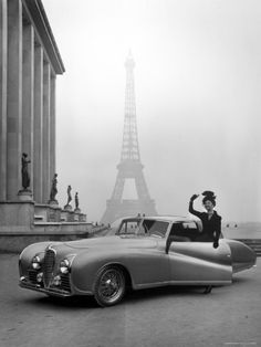Model Wearing Jacques Fath Ensemble Beside 1947 Model Delahaye Automobile...very cool :)