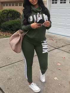 Lovely Casual Heaps Collar Striped Letters Printed Army Green Qmilch Two-Piece Pants Set - Wear Clothes Pink Outfits, Classy Outfits, Fall Outfits, Casual Outfits, Cute Outfits, Matching Outfits, Women's Casual, Two Piece Pants Set, Two Piece Outfit