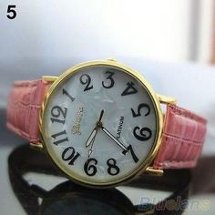 New Geneva Rose Pink Shell Wrist Quartz Ladies Women Girl Watch 415