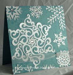 Paper and Fiber Arts: Silhouette Cameo Snowflakes Card - No Patterned Paper! Homemade Christmas Cards, Christmas Time, Christmas Crafts, Christmas Decorations, Christmas Things, Christmas Ideas, Xmas, Scrapbooking, Scrapbook Cards