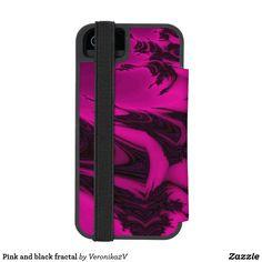 Pink and black fractal iPhone SE/5/5s wallet case, photo, photography, artwork, buy, sale, gift ideas, pink, black, spots, fractal, magenta, bright, purple, colorful, dark, abstract,  wallet, wallets, skin, skins, case, cases, gadget, gadgets, decor, design,  apple, phone, phones,  iphone