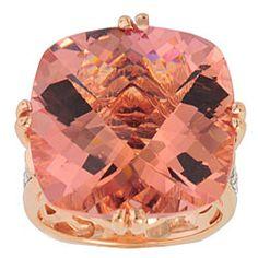 Michael Valitutti 14k Rose Gold Morganite and Diamond Ring